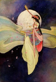 Celestial Maiden - moon harpist - can't find source to credit artist