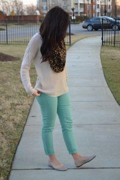 Oatmeal sweater, green skinnies, nude flats