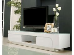 Meuble TV ODESSA - MDF laqué blanc