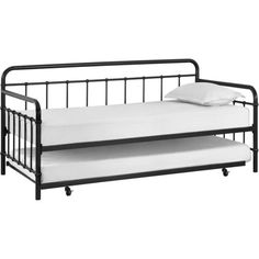 Metal-Daybed-Twin-Roll-Out-Trundle-Black-Modern-Bed-Frame-Sleeper-Guest-Dorm-New