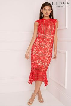 f0c82753 Buy Lipsy VIP Lace Contrast Midi Dress with Flute Hem from the Next UK  online shop