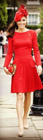 Thames Diamond Jubilee Pageant...Alexander McQueen Pleated-Skirt Dress