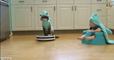 Feeling calmer by the minute. | This Cat Dressed As A Shark Riding A Roomba With A Shark-Baby Is The Zen You Need Today