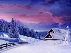Pink Sunset Wallpaper Winter Cabins Fence Pines Purple Sky Snow
