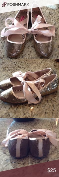Betsey Johnson sequined ballet slipper Brand new by Betsey Johnson... gold sequined slide-on ballet slippers with blush colored trim and ribbon to wrap around your ankles.  Dress up or down ;) Betsey Johnson Shoes Flats & Loafers