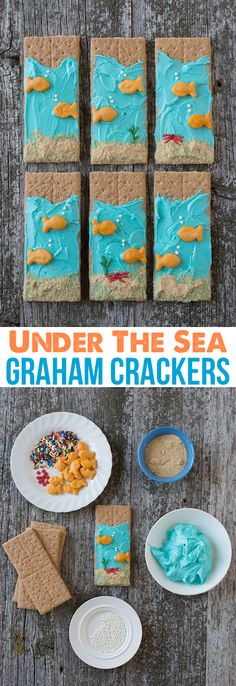 Under the Sea Graham Crackers Healthy Snack! Easy for kids to make and perfect for an ocean theme! You'll need graham crackers, graham cracker crumbs, goldfish, blue frosting, white ball sprinkles, and red and green long sprinkles.