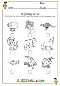 Learn First Letter Of The Animals Worksheet Kindergarten Teachers Resources Printable Activity Sheets Kindergarten Worksheets Teacher Resources Worksheets Animal sound worksheet for kindergarten
