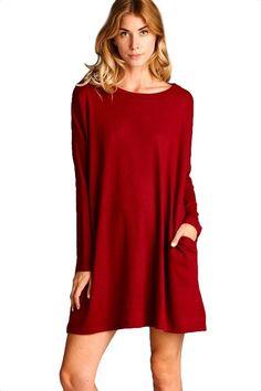 Salem Side Pocket Tunic Dress - Burgundy