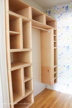 DIY Custom Closet Organizer: The Brilliant Box System This brilliant DIY custom closet organizer is not only easy to build, but makes creating your own custom closet configuration both simple and affordable! Diy Custom Closet, Custom Closets, Wood Closet Shelves, Diy Regal, Closet Remodel, Master Bedroom Closet, Diy Holz, Closet Designs, Closet Organization