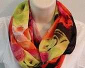 sheer red yellow blue brown print color infinity scarf cowl woman/girl multicolored scarf
