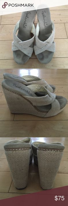 Splendid crisscross wedges in beige Splendid wedges that slide on with crisscross straps across the front. Beige design goes with everything! 3.5 inch wedge roughly. Like new- only worn once! Great for holiday getaways and summer travels! Splendid Shoes Wedges