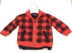 NEW Baby Boys Red Black Buffalo Plaid Check Shawl Cardigan Sweater 6-9 Months  | eBay