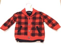 NEW Baby Boys Red Black Buffalo Plaid Check Shawl Cardigan Sweater 6-9 Months    eBay