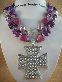 Christian Cowgirl Necklace Set  Purple Howlite by Outwestjewelry,