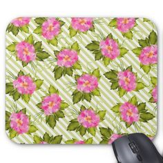 Tropical Flower Green Stripes Mouse Pad  $11.60  by JoSunshineDesigns  - custom gift idea