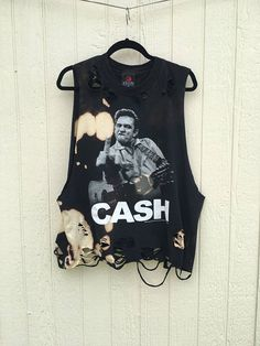 Johnny Cash t shirt has been awesomely distressed and cut into a tank top  Size Large