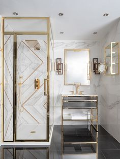 The Academy collection of luxury bathroom furniture features Art Déco design inspiration in hand made vanity units, cabinets and accessories. Bathroom Layout, Bathroom Interior Design, Bathroom Styling, Modern Bathroom, Master Bathroom, Gold Interior, Bad Inspiration, Bathroom Inspiration, Dream Bathrooms