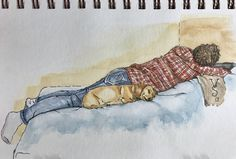 """Asleep At The Wiener"" by V.Stark My wife and Ross taking a well deserved afternoon nap. Wiener dog number two (Clancy) was on the other side. #watercolor #watercolour #art #sketch #sketchbook #pensketch #pen #illustration #dog #doxie #wienerdog #teckel #dachshund #dachshundappreciation #dachel #vstark"