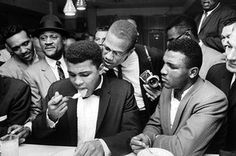 """twixnmix: """" Muhammad Ali celebrating with Malcolm X at the Hampton House in Miami after he won the World Heavyweight Championship against Sonny Liston on February Photos by Bob Gomel """" Mohamed Ali, Malcolm X, Cool Attitude, World Heavyweight Championship, Float Like A Butterfly, Manny Pacquiao, Picture Editor, American Comics, Rafael Nadal"""