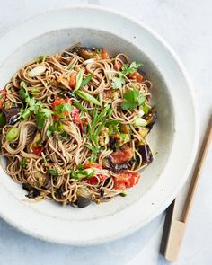 Soba Salad with Grilled Eggplant and Tomato Recipe & Video   Martha Stewart