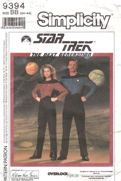 Simplicity 9394 1980s  Mens Star Trek Costume TNG  The next generation vintage sewing pattern  by mbchills