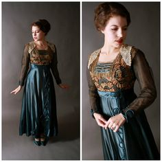 Vintage Edwardian Dress - Bold Teal Silk Dress with Colorful Embroidery and Metallic Lace c. 1915
