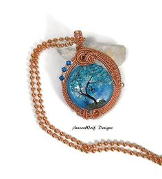 Tree of Life Wire Wrapped Pendant / Lampwork by AussenWolfDesigns