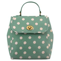 "Cath Kidston Matt Oilcloth Turnlock Backpack Rucksack Polka Button Spot Green 16SS. Dimension: 25 x 28 x 12 cm / Dimension in Inch: 9.8"" x 11"" x 4.7"". Durable & Waterproof Matt Oilcloth Surface. Turnlock closure. Grab handles. Adjustable, detachable back straps."