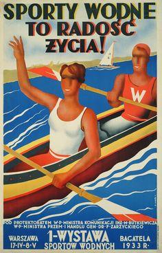 plakat, Tytuł: Sporty wodne to radość życia! 1933, autor: Surałło-Gajduczeni, Bolesław (1906-1939),