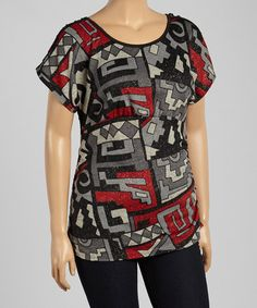 Another great find on #zulily! Red & Black Geometric Scoop Neck Top - Plus #zulilyfinds  $10.99
