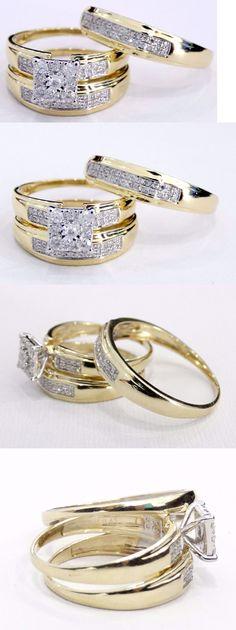 1 58 Carat TW Diamond Trio Matching Wedding Ring Set 14K Yellow