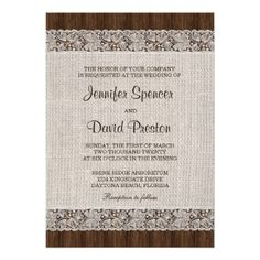 Rustic Wedding Invitation With Burlap And Lace