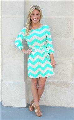 Mint chevron 3/4 dress