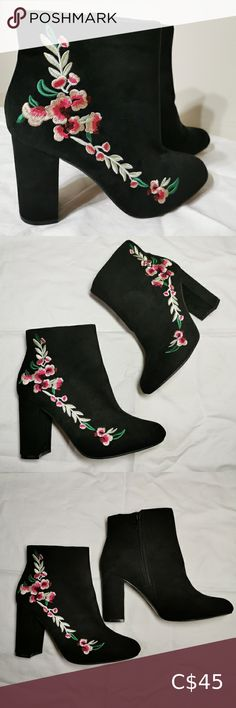 Brand New! Atmosphere suede floral ankle boots Atmosphere black suede boots with block heels and embroidered flower detail down the side. Have concealed inner side zip fastening. Brand new. Excellent condition. Atmosphere Shoes Ankle Boots & Booties Floral Ankle Boots, Lace Up Boots, Chelsea Ankle Boots, Cute Boots, Black Suede Boots, Block Heels, Bootie Boots, Fashion Tips, Fashion Trends