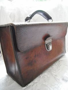 French Vintage Leather Hand Bag Paris Bus by FrenchCountryLiving, $145.00