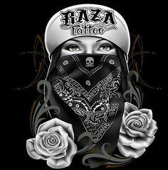 Chicano Love, Chicano Art, Gangsta Tattoos, Girl Tattoos, Tattoo Studio, Bandana Tattoo, Aztecas Art, Catrina Tattoo, Cholo Art