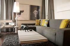 Modern Living room Grey and Yellow decor Cream Living Rooms, Living Room Grey, Living Room Modern, Living Room Designs, Small Living, Living Area, Sofa Design, Canapé Design, Deco Design
