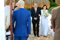 Father giving away a very happy bride at this destination wedding at @La Zebra, Tulum in the Riviera Maya.  Mexico wedding photographers Del Sol Photography