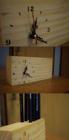 Desk Clock with Pencil Holder, Pencil Holder, Deck Clock, Table Clock, Wooden Clock, Deck Organizer, Handmade Clock, Handmade Desk Holder