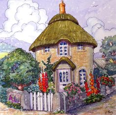 The Round House in Cornwall Storybook Cottage Series original fine art by Alida Akers