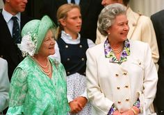 The Queen Mother (L) is joined by her eldest daughter, Queen Elizabeth II outside Clarence House 04 August 1993 on her 93rd birthday. The Queen Mother is the widow of Britain's wartime monarch, King George VI.