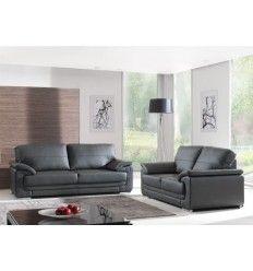 ensemble salon avec canap 3 places et canap 2 places coloris noir - Salon Avec Canape Noir