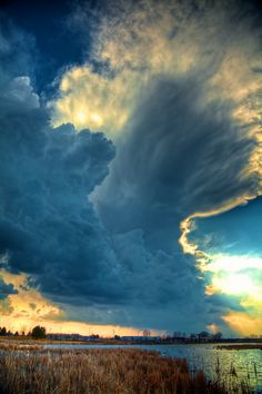 Storm cells developing before sunset.