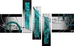 cuadros abstractos azul turquesas 470 - Tienda de cuadros Cuadricer