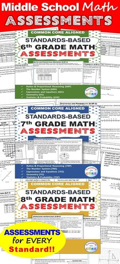 6th, 7th, 8th Grade Math Standards Based Assessments * All Standards * {Common Core} This BUNDLE resource contains a 1 page quick assessment for every common core math standard for 6th, 7th and 8th grade, students standards checklist, class tracking sheet.✔ The Number System (6NS, 7NS, 8NS) ✔ Expressions and Equations (6EE, 7EE, 8EE) ✔ Functions (8F) ✔ Ratios and Proportional Reasoning (6RP, 7RP) ✔ Geometry (6G, 7G, 8G) ✔ Statistics and Probability (6SP, 7SP, 8SP)