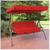 Water Resistant 2 Seater Replacement Canopy & Seat Pad ONLY for Swing Seat/Garden Hammock in Red