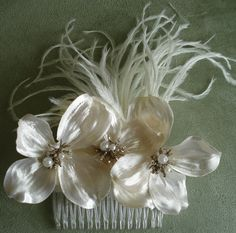 Pearl Dogwood Hair Comb Fascinator by lovelygifts on Etsy, $28.50