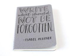 Pocket Notebook // Hand Lettered Isabel Allende por EmDashPaperCo, $20.00