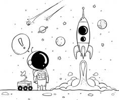 Space icons with rockets and planets Vector Mini Drawings, Space Drawings, Galaxy Painting, Art Drawings, Doodle Art Drawing, Art, Astronaut Drawing, How To Draw Hands, Doodle Drawings