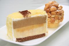 Durian Cappuccino Cake, a combination of vanilla sponge crumbs with layers of rich cappuccino mousse, D24 mousse and chocolate sponge
